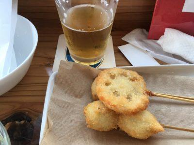 串揚げ。チェコビールのつまみに串揚げはなかなか無い組み合わせではないだろうか